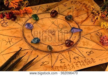 Paper Sketch Of Ouija Spiritual Board With Black Candles And Crystal Stones. Esoteric And Occult Bac