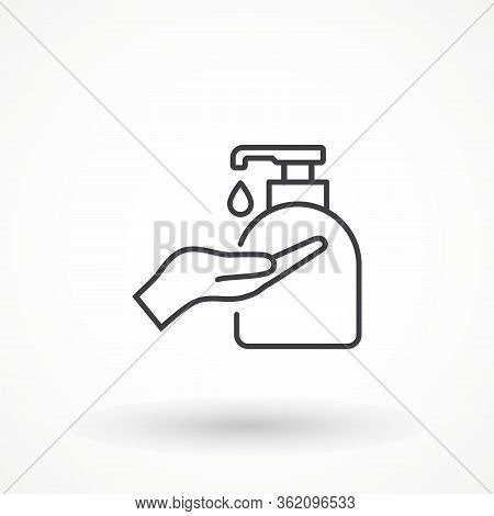 Disinfection. Hand Soap Flat Icon. Hand Sanitizer Bottle Icon, Washing Gel. Anti-bacterial Sanitizer