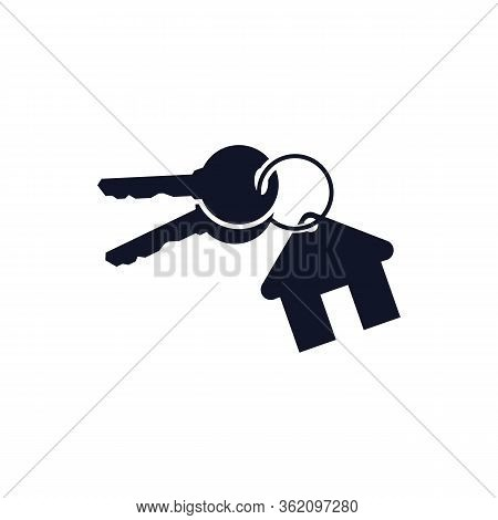 Keys With Key Chain Ring And A House Pendant. Real Estate Concept Icon. New Home Logo Design. Pair O