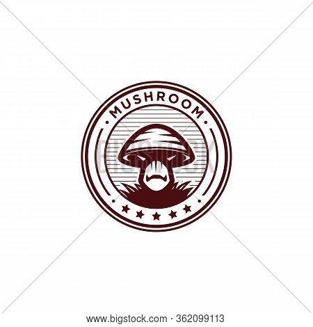 Organic Mushroom Farm Logo Design, Mushroom Healthy Farm Badge And Emblem Isolated On White Backgrou