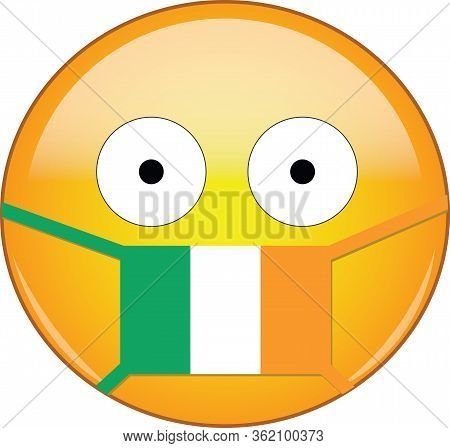 Yellow Scared Emoji In Irish Medical Mask Protecting From Sars, Coronavirus, Bird Flu And Other Viru