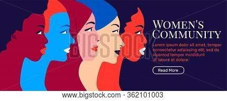Multinational Sisterhood Community. Multiethnic Group Of Young Women In Profile. Concept For Global
