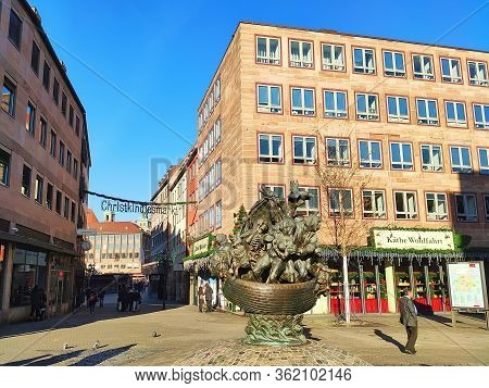 Nuremberg, Germany - January 01, 2020: Famous Sight Narrenschiff, Christmas Shopping Kaethe Wohlfahr