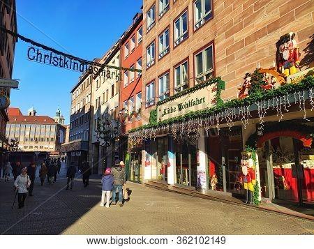 Nuremberg, Germany - January 01, 2020: Famous Christmas Shopping Kaethe Wohlfahrt World Of Gifts And