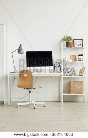 Background Vertical Background Image Of Minimal Home Office Interior With Wooden Chair And White Com