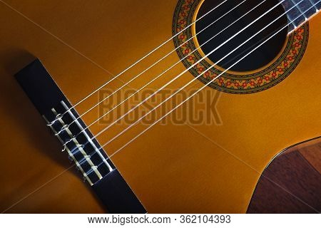 Yellow Acoustic Classic Spanish Guitar Popular Music Tune And Song Design Banner. Close Up, Cropped