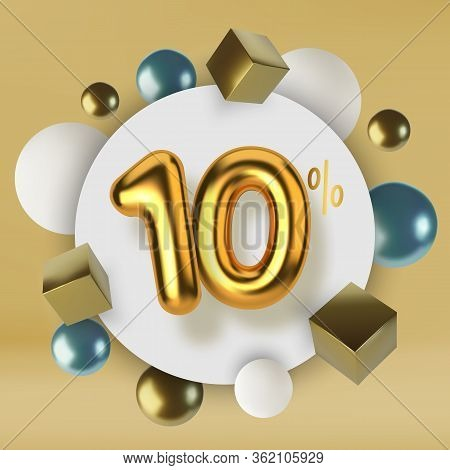 10 Off Discount Promotion Sale Made Of 3d Gold Text. Number In The Form Of Golden Balloons.realistic
