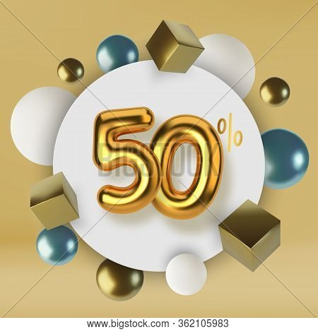 50 Off Discount Promotion Sale Made Of 3d Gold Text. Number In The Form Of Golden Balloons.realistic