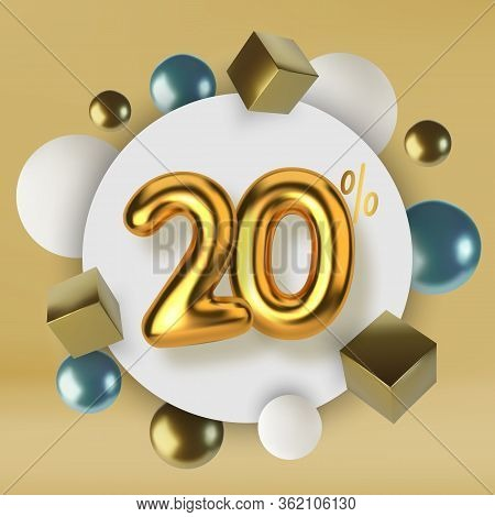 20 Off Discount Promotion Sale Made Of 3d Gold Text. Number In The Form Of Golden Balloons.realistic
