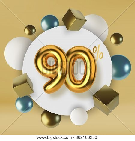 90 Off Discount Promotion Sale Made Of 3d Gold Text. Number In The Form Of Golden Balloons.realistic