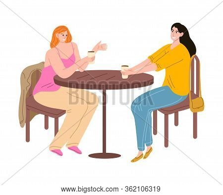 Young Woman Meeting Friend And Drinking Coffee In Coffeeshop Vector Illustration