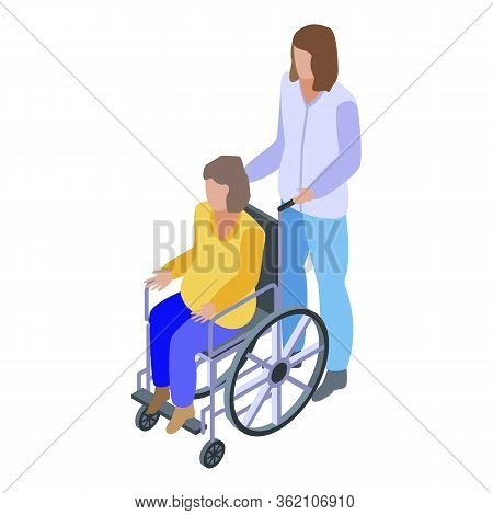 Caregiver Wheelchair Man Icon. Isometric Of Caregiver Wheelchair Man Vector Icon For Web Design Isol