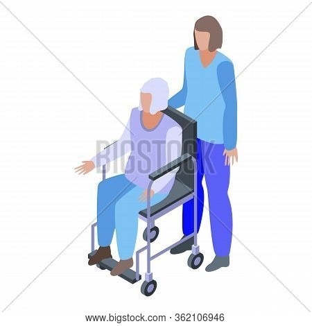 Hospital Caregiver Icon. Isometric Of Hospital Caregiver Vector Icon For Web Design Isolated On Whit