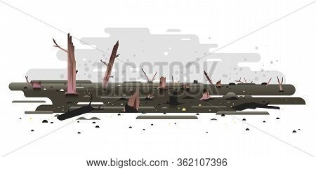 Scorched Earth And Tree Trunks After Forest Fire Concept Illustration In Flat Style Isolated, Charre
