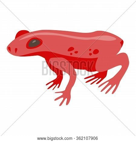 Red Tropical Frog Icon. Isometric Of Red Tropical Frog Vector Icon For Web Design Isolated On White