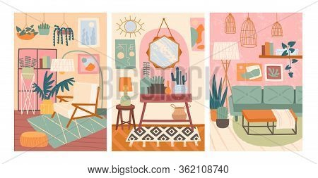 Three Interior Design, Furnishing Or Decor Poster Designs Showing An Easy Chair In A Lounge, Mirror