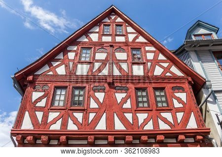 Red Half Timbered House In Limburg An De Lahn, Germany