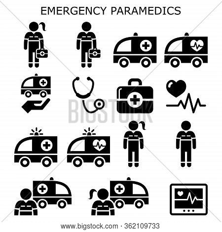 Emergency Paramedics, Ambulance Vector Icons Set - Healthcare Medical Workers