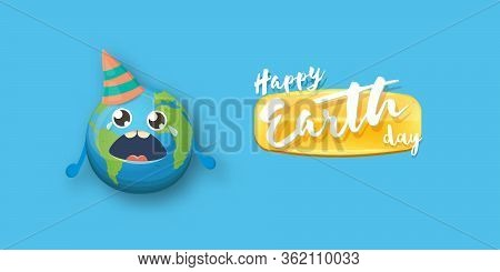 Cartoon Earth Day Horizontal Banner With Cute Crying Earth Planet Character With Funny Hat Isolated