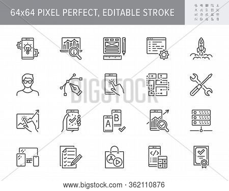 Application Development Line Icons. Vector Illustration Included Icon As Mobile Software, App Ux Pro