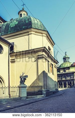 Lviv Cathedral. Lviv Is A Unesco Cultural Heritage. Old European City Photo.