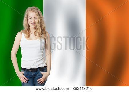 Love Irish Concept. Happy Cute Woman With Irish Flag