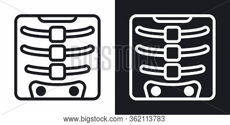 X-ray Icon. Simple Two-tone Vector Illustration On Black And White Background