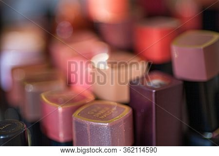 Selective Focus Image Of Collection Of Various Lipsticks Beauty Makeup