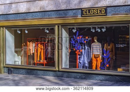 Stuttgart,germany - March 27,2020:dorotheenstrasse This Expensive Shop With The Name Closed For Fash