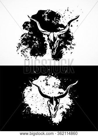 Vector Illustration With Antelope Skulls. Two Variants: Black And White Silhouettes With Grunge Text