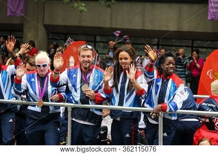 London, England - September 10 2012: 2012 Olympians Enjoying The Support Of The British Public Durin