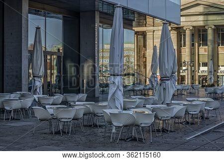 Stuttgart,germany - March 27,2020:kleiner Schlossplatz The Restaurant Of The Modern Museum Of Art Wa