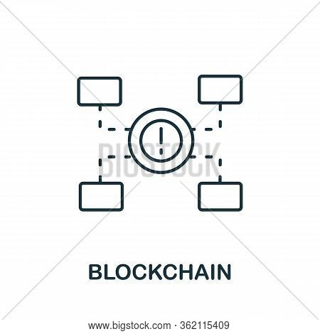 Blockchain Icon. Creative Simple Symbol From Fintech Collection. Line Blockchain Icon For Templates,