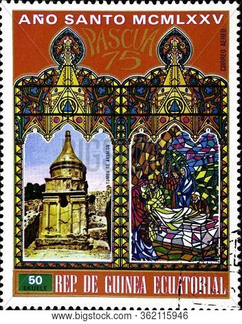 02 09 2020 Marvelous Stavropol Territory Russia Postage Stamp Equatorial Guinea 1975 Easter - Buildi