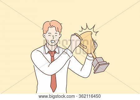 Success, Celebration, Win, Goal Achievement, Business Concept. Happy Smiling Businessman Clerk Leade