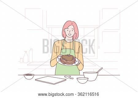 Cooking, Housewife, Proposal, Advertising Concept. Young Happy Smiling Woman Girl Housewife In Apron