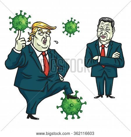 Donald Trump And Xi Jinping Discussed Fighting Against Coronavirus Covid-19 Threat Cartoon Vector Il