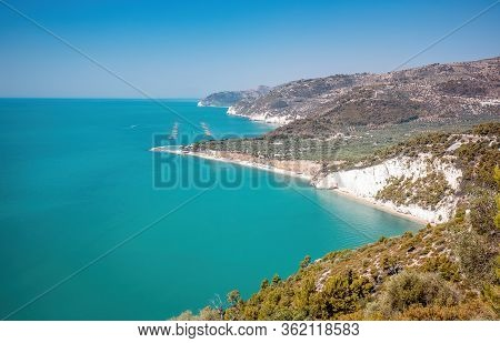 Gargano Coastline, Gulf Of Manfredonia And The National Park In Puglia, Italy