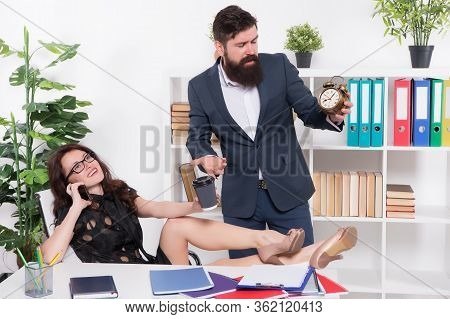 Business Communication. Business Partners In Manager Office. Ceo And Sexy Secretary. Manager And Sub