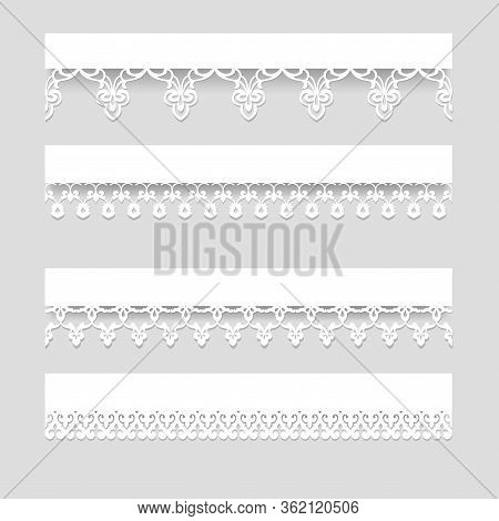 Set Of White Seamless Lace Borders With Shadows, Ornamental Paper Lines, Vector Eps10