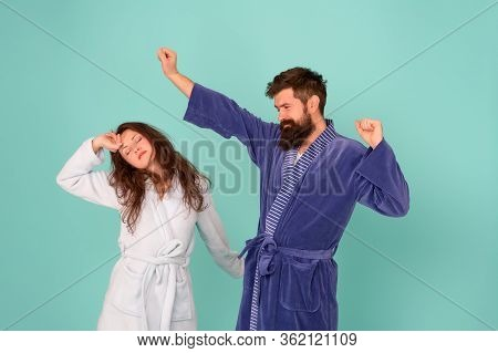 Half Awake. Couple In Love Look Sleepy In Morning. Sleepy Woman And Hipster Stretch And Yawn Blue Ba