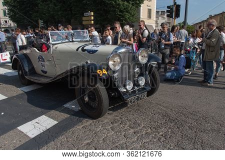Brescia, Italy - May 19 2018: Lagonda M 45 Rapide 1934 Is An Old Racing Car In Rally Mille Miglia 20