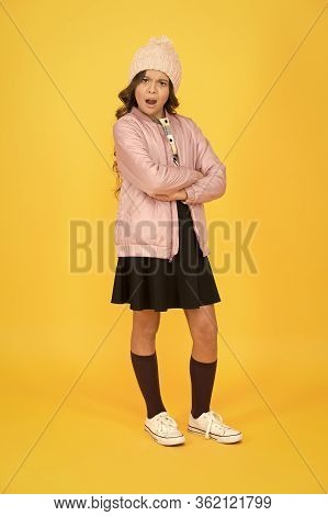 Indignant Kid. Ready For Winter Vacation. Warm Autumn Clothes. Get Knowledge Of Style. Small Girl In