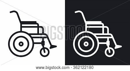 Wheelchair Icon, Disabled Person Concept. Simple Two-tone Vector Illustration On Black And White Bac