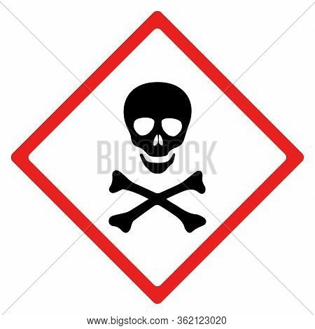 Acute Toxic Hazard Sign Or Symbol.  Vector Design Isolated On White Background.  Latest Hazard Signs