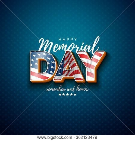 Memorial Day Of The Usa Vector Design Template With American Flag In 3d Letter On Light Star Pattern