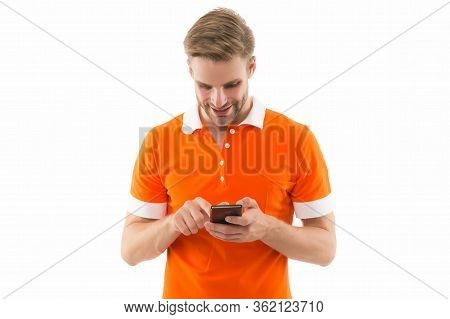 Reading Incoming Sms Text. Happy Man Read Sms On Smartphone Isolated On White. Sms Messaging. Short