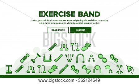 Exercise Band Tools Landing Web Page Header Banner Template Vector. Resistance And Stretchable Belt,