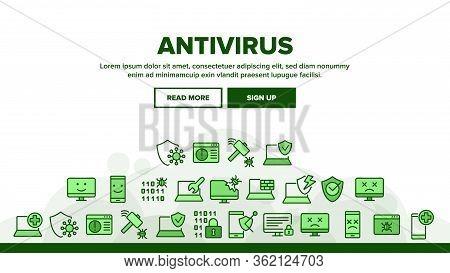 Antivirus Program Landing Web Page Header Banner Template Vector. Computer And Laptop Antivirus, Bin