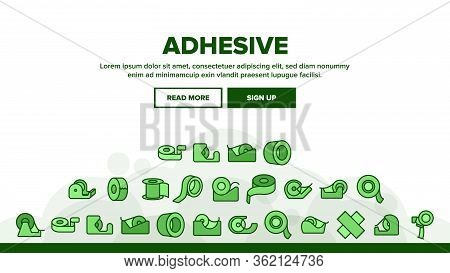 Adhesive Tape Scotch Landing Web Page Header Banner Template Vector. Medicine Plaster Bandage, Roll